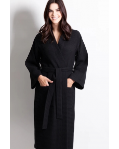 Women's Waffle Black Long Premium CottonBlend Bathrobe