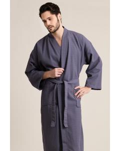 Men's Waffle Weave Stone Gray Bathrobe (One Size)