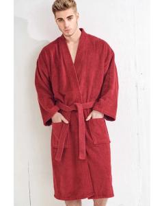 Men's Terry Brick Red Bathrobe (One Size)