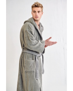 Men's Terry Silver Hooded Bathrobe (One Size)