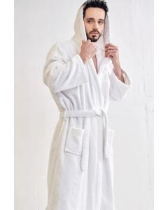 Men's Terry White Hooded Bathrobe (One Size)