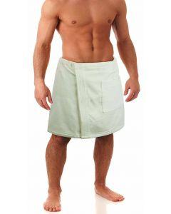 Men's Terry Velour Body Wrap, White (One Size)