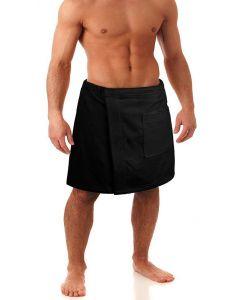 Men's Terry Velour Body Wrap, Black (One Size)