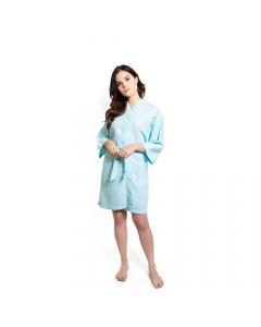 Women's Short Waffle Kimono Caribbean Blue Bathrobe