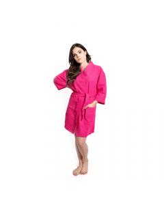Women's Short Waffle Kimono Hot Pink Bathrobe