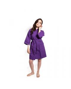 Women's Short Waffle Kimono Violet Bathrobe