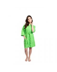 Women's Short Waffle Kimono Lime Green Bathrobe