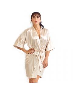 Satin Kimono Latte Short Robe for Women