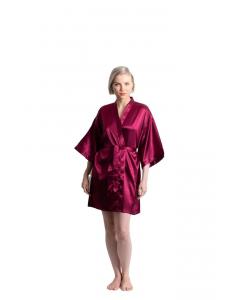 Satin Kimono Burgundy Short Robe for Women