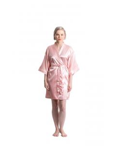 Satin Kimono Light Pink Short Robe for Women