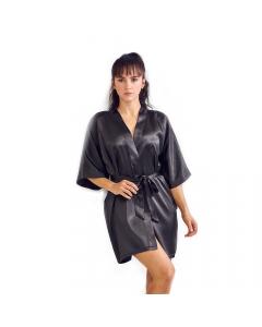 Satin Kimono Black Short Robe for Women