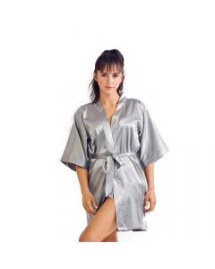 Satin Kimono Silver Short Robe for Women