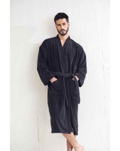 Men's Terry Black Bathrobe (One Size)