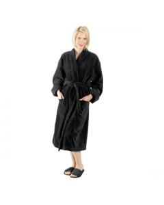 """Terry Velour Shawl Robe, 12 oz, 48""""-Black"""