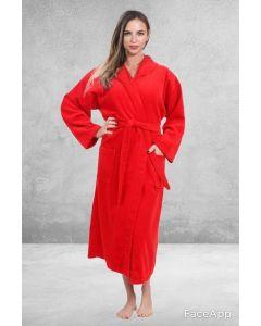 Women's Terry Red Hooded Bathrobe