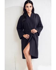 Women's Waffle Black  Bathrobe - 100% Cotton (One Size)