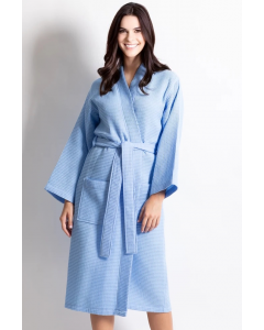 Women's Waffle Light Blue Long Premium CottonBlend Bathrobe
