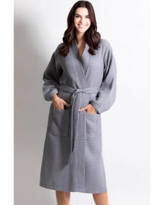 Women's Waffle Silver Long Premium CottonBlend Bathrobe